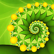 Fractal Sweet Yellow Fruits Poster