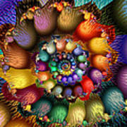 Fractal Textured Spiral Poster