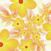 Fractal Yellow Flowers Poster