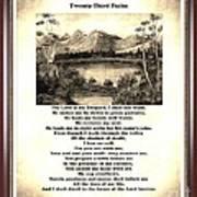 Framed Vintage 23rd Psalm Sepia Poster
