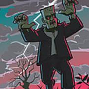 Frankenstein Creature In Storm  Poster