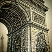 French - Arc De Triomphe And Eiffel Tower Poster by Lee Dos Santos