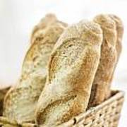 French Baguette In Basket Poster