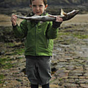 French Boy With Fish Poster