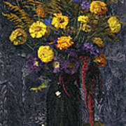 French Marigold Purple Daisies And Golden Sheaves Poster