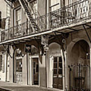 French Quarter Art And Artistry Sepia Poster