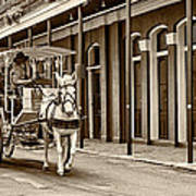 French Quarter Carriage Ride Sepia Poster