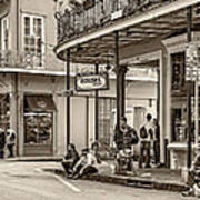 French Quarter - Hangin' Out Sepia Poster