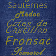 French Wines - 2 Champagne And Bordeaux Region Poster