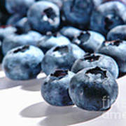 Fresh And Natural Blueberries Close Up On White Poster