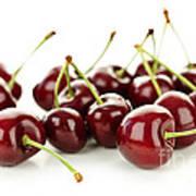 Fresh Cherries On White Poster by Elena Elisseeva