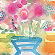 Fresh Picked Flowers In A Blue Vase- Contemporary Watercolor Painting Poster