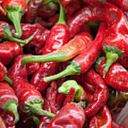 Fresh Red Chili Peppers At Local Street Market In Dunhuang China Poster