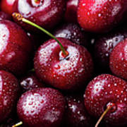 Fresh Ripe Black Cherries Background Poster