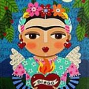 Frida Kahlo Angel And Flaming Heart Poster