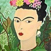 Frida With Flowers Poster