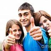 Friends Showing Thumb Up Sign Poster