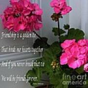 Friendship Is A Golden Tie With Geraniums Poster