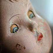 Frightened Vintage Doll Face Poster