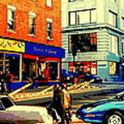 Friperie St.laurent Clothing Variety Dress Shop Downtown Corner Store City Scene Montreal Art Poster