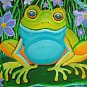Frog On A Lily Pad Poster