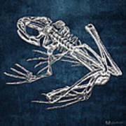 Frog Skeleton In Silver On Blue  Poster
