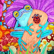 Frog Under A Mushroom Poster