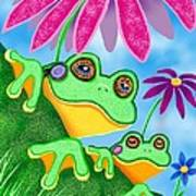 Froggies And Flowers Poster