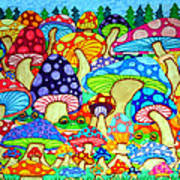 Frogs And Magic Mushrooms Poster