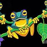 Frogs On Vines Poster