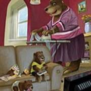 Front Room Bear Family Son Playing Computer Game Poster