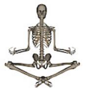 Front View Of Human Skeleton Meditating Poster