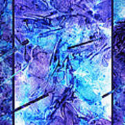 Frozen Castle Window Blue Abstract Poster