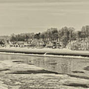 Frozen Boathouse Row In Sepia Poster