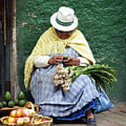Fruit And Vegetable Vendor Cuenca Ecuador Poster