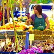 Fruit And Vegetable Vendor Roadside Food Stall Bazaars Grocery Market Scenes Carole Spandau Poster
