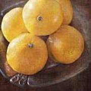 Fruit Still Life Oranges And Antique Silver Poster