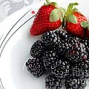 Fruit V - Strawberries - Blackberries Poster by Barbara Griffin
