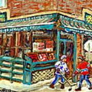 Fruiterie Epicerie Soleil Verdun Montreal Depanneur Paintings Hockey Art Montreal Winter City Scenes Poster