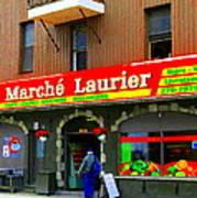 Fruiterie Marche Laurier Butcher Boulangerie De Pain Produits Quebec Market Scenes Carole Spandau  Poster