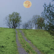 Full Moon And A Country Road Poster