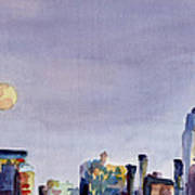 Full Moon And Empire State Building Watercolor Painting Of Nyc Poster