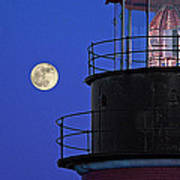Full Moon And West Quoddy Head Lighthouse Beacon Poster