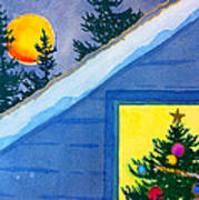 Full Moon At Christmas Poster
