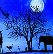 Full Moon In Africa Poster by Pilar  Martinez-Byrne