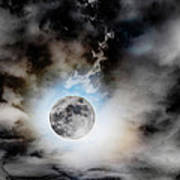 Full Moon  In Stormy Sky Poster