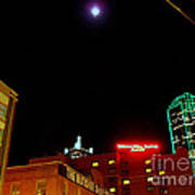 Full Moon Over Dallas Streets Poster