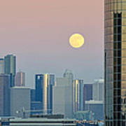 Full Moon Over Downtown Houston Skyline Poster