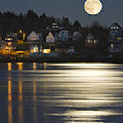 Full Moon Over Kennebec River Georgetown Island Maine Poster