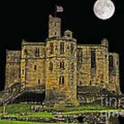 Full Moon Over Medieval Ruins Poster
